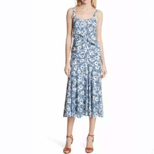 Veronica Beard Marena Midi Dress Ruched Floral